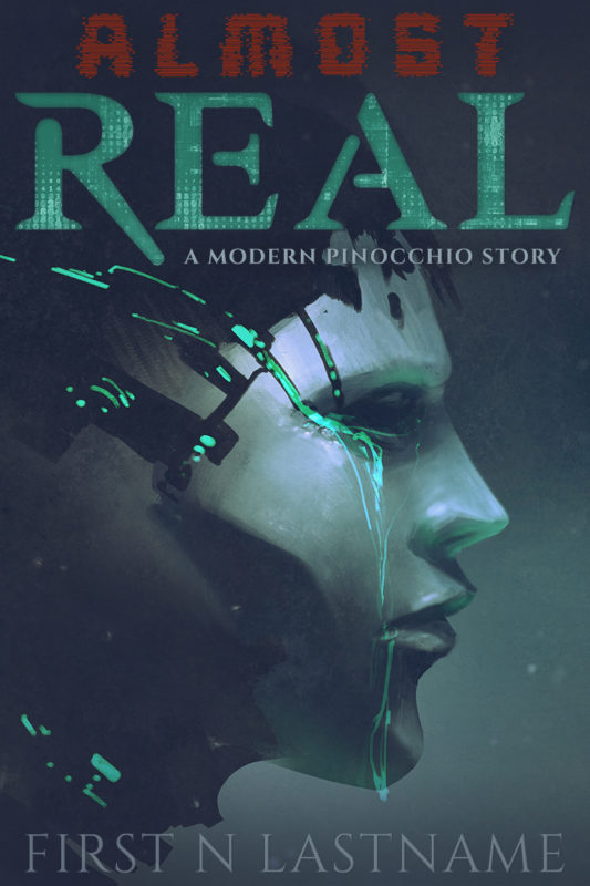 Almost Real - YA cyberpunk science fiction premade book cover for self-published authors by Artful Cover