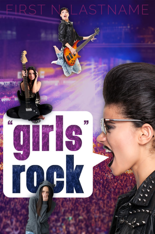 """""""Girls"""" Rock - YA punk rock literary fiction premade book cover for self-published author by Artful Cover"""