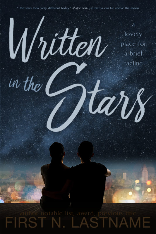 Written in the Stars - romance premade book cover for self-published authors by Artful Cover