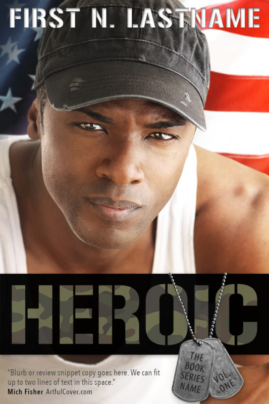 Heroic - #OwnVoices military romance premade book cover for self-published authors by Artful Cover