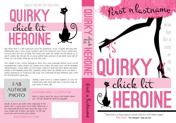 Quirky Chick Lit Heroine - Chick lit paperback book cover for self-published author by Artful Cover