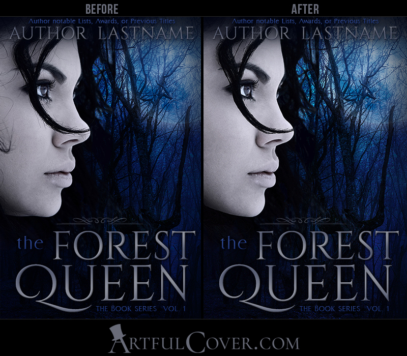 Book cover design stock image photo retouching sample by the Artful Cover - The Forest Queen, a premade fantasy book cover for self-published author by Artful Cover